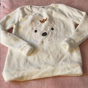 Super soft cuddly white polyester sweater